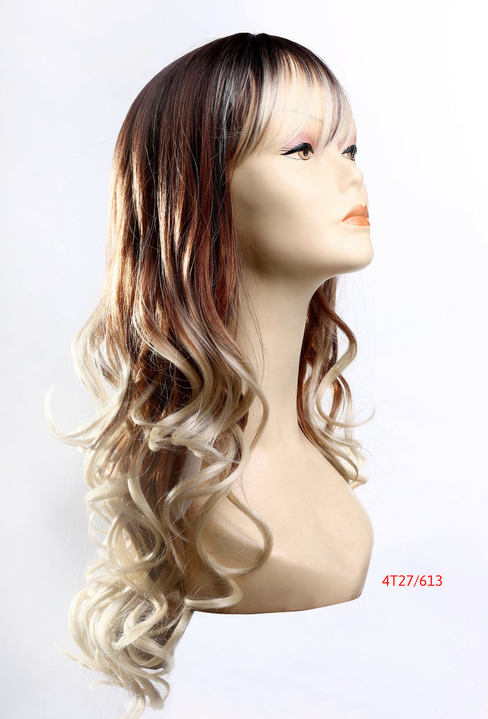 "26"" Wig Fashion Red Brown Blonde Ombre"