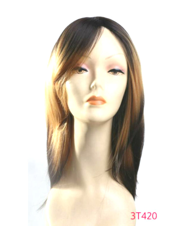 "16"" Wig New Stylish Black Brown Blonde Caramel Color Block Ombre Highlights"