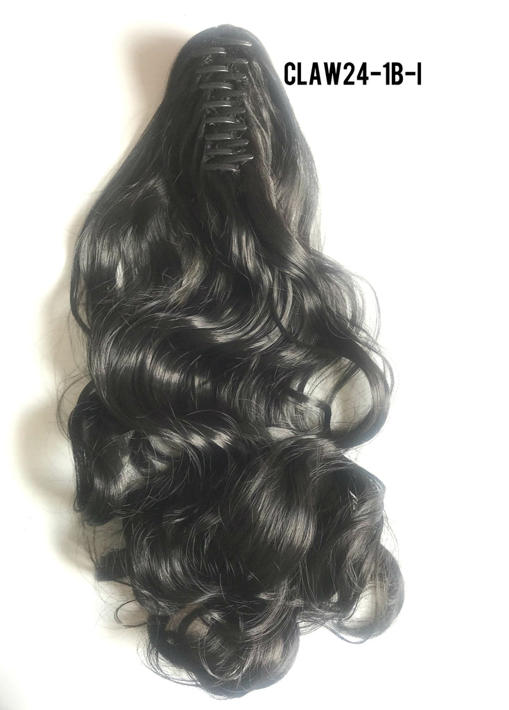 "24"" Long Claw-on Clip in Wavy Ponytail Extensions (11 Colors)"