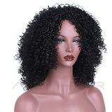kinky curly wig off black mid length