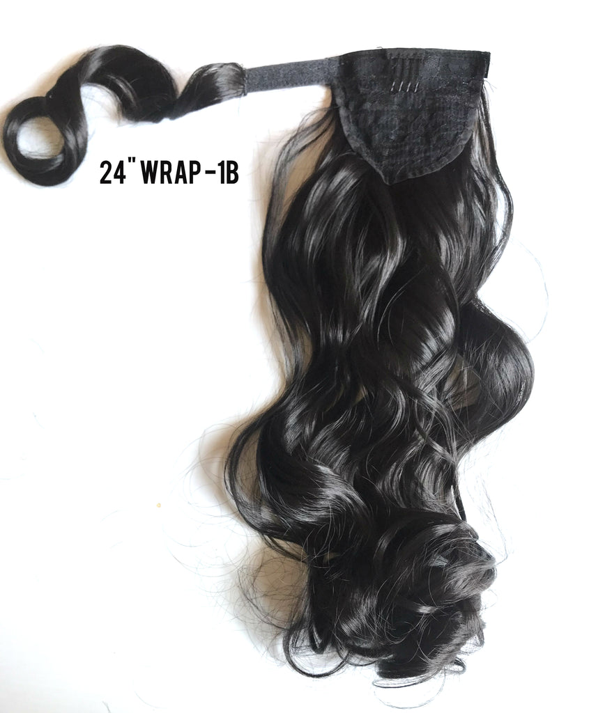 "24"" Long Wrap-on Clip in Wavy Ponytail Extensions (11 Colors)"