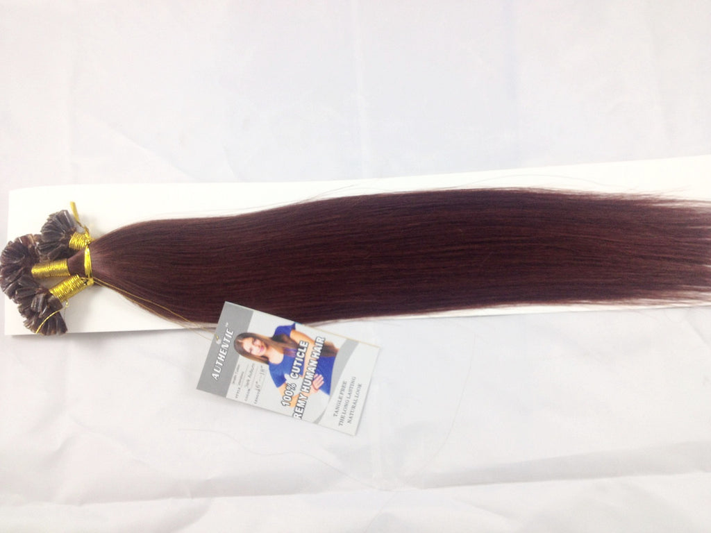 "16""-18"" Vibrant Red Keratin Fusion Hair Extensions"