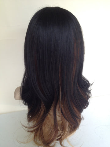 Natural Wig Ombre Black Brown Wavy Midlength Tressmatch