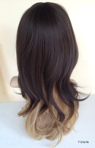 Cheap Ombre Wig Dark Brown Wavy With Bang Tressmatch