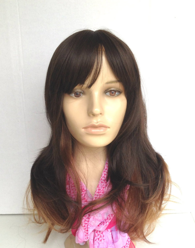 Wig Natural Ombre Dark Brown/Chocolate/Chestnut Brown