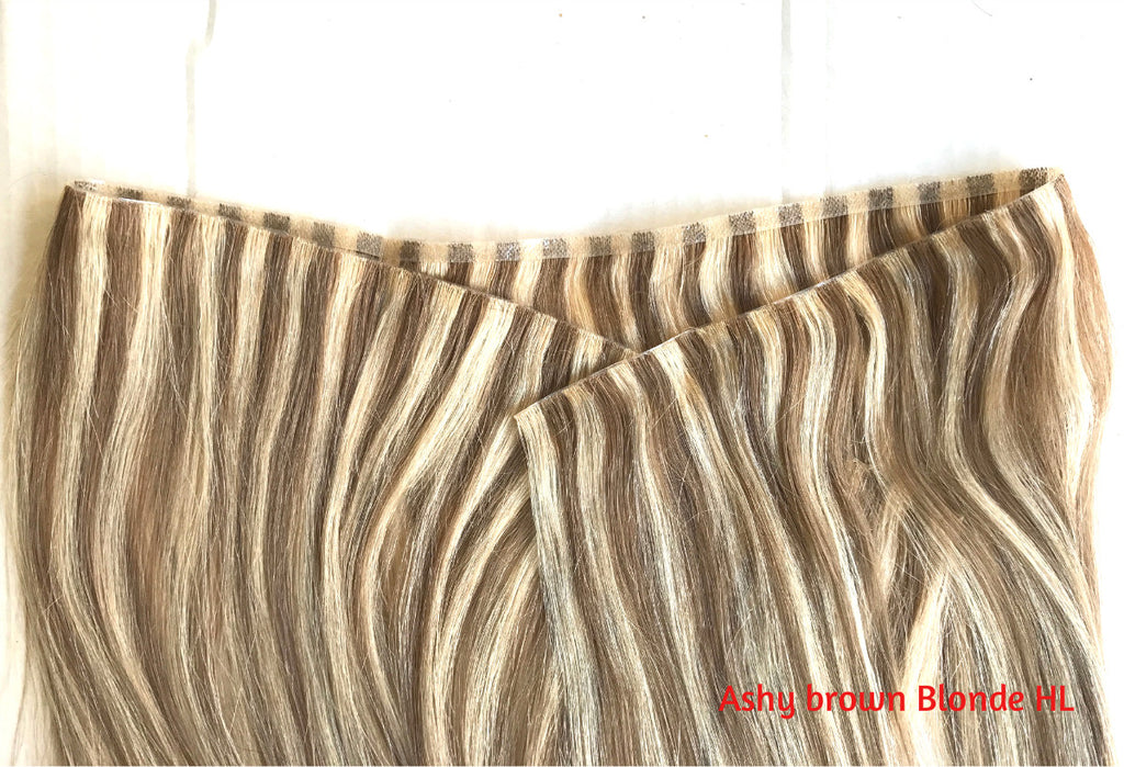 skin weft ashy brown with bleach blonde highlights