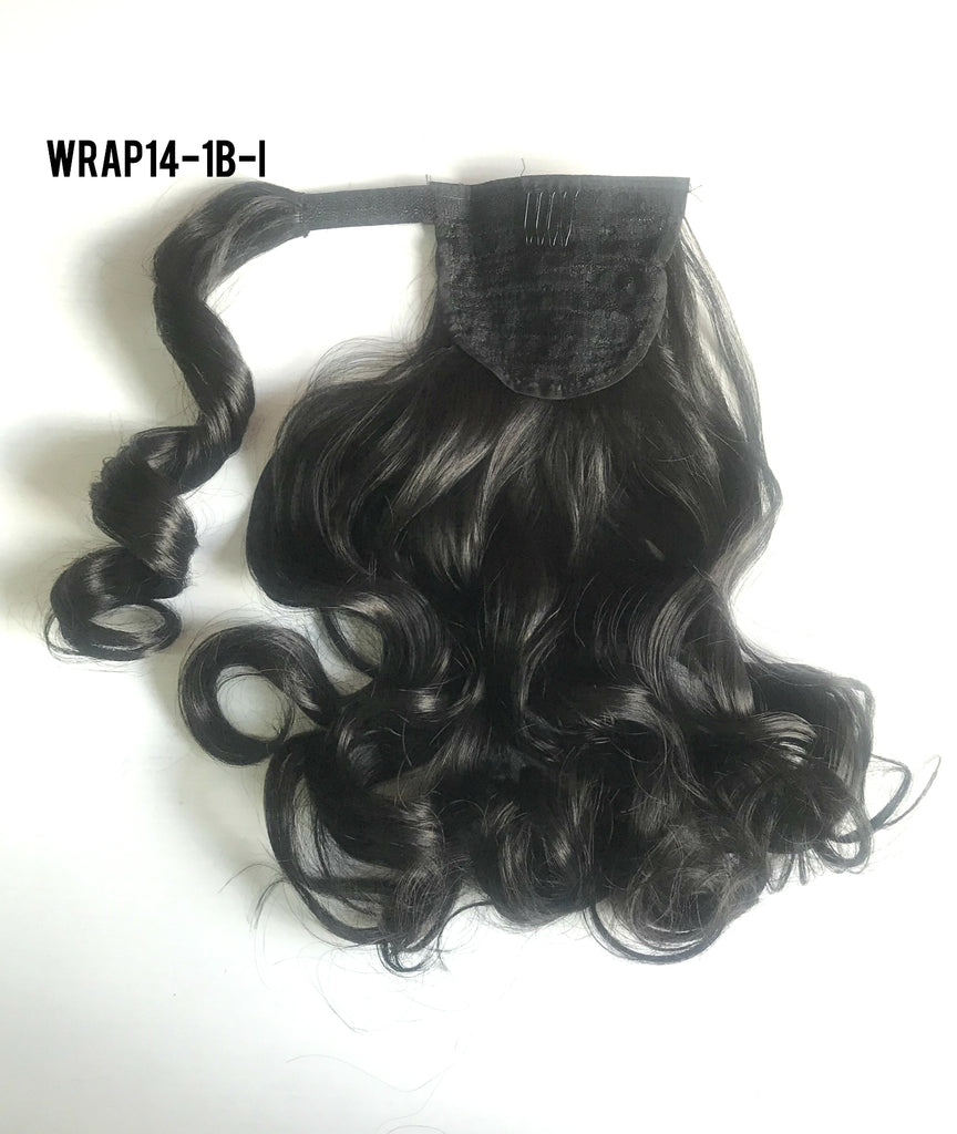 "14"" Long Wrap-on Clip in Wavy Ponytail Extensions (11 Colors)"