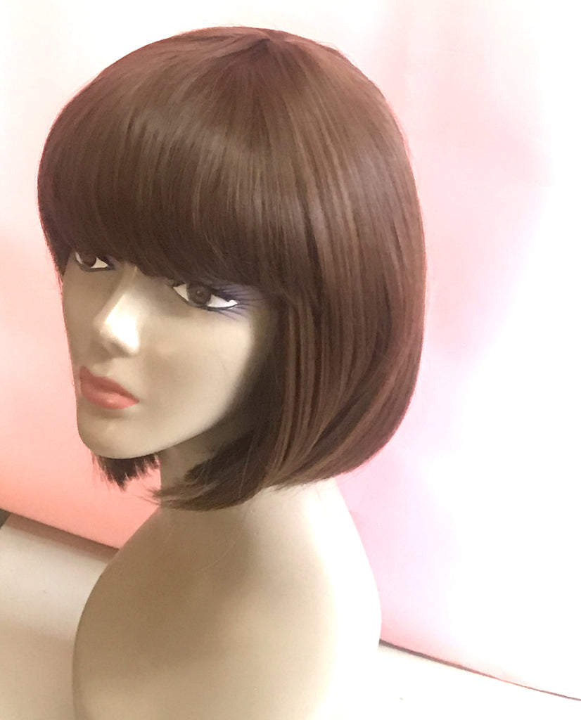 Wig Natural Bob Brunette Chocolate Brown