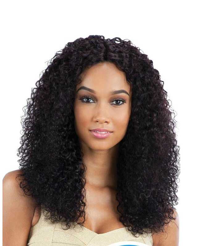 kinky curly wig darkest brown mid length
