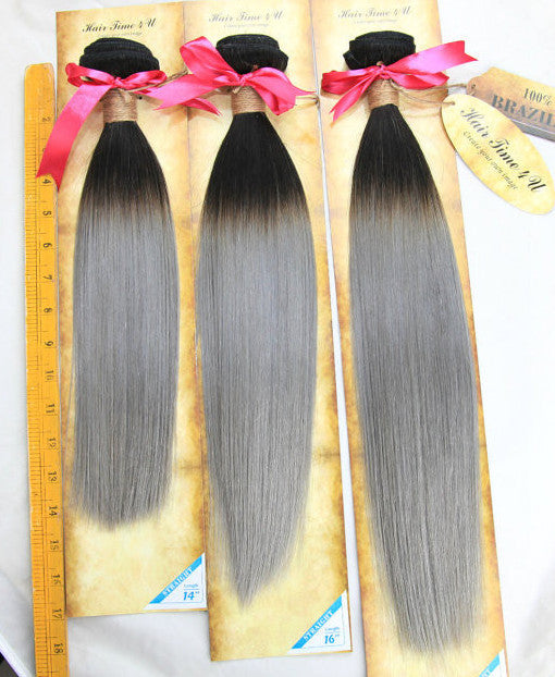 "14"", 16"", 18"" Black/Silver Grey Ombre Straight Hair Wefts(single or combo bundles)"