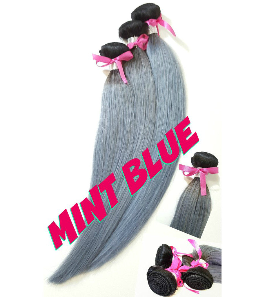 Mint blue human hair weft, sew, glue, non clips