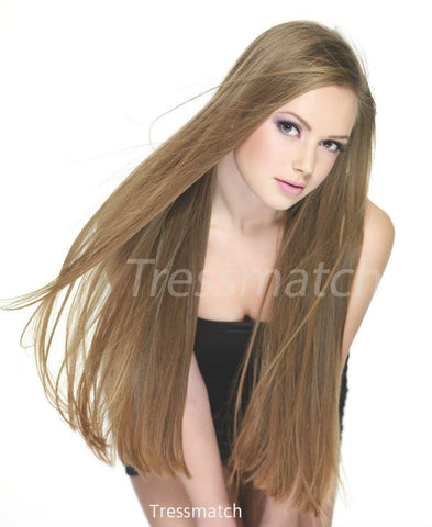 "22"" light brown clip in remy hair extensions"