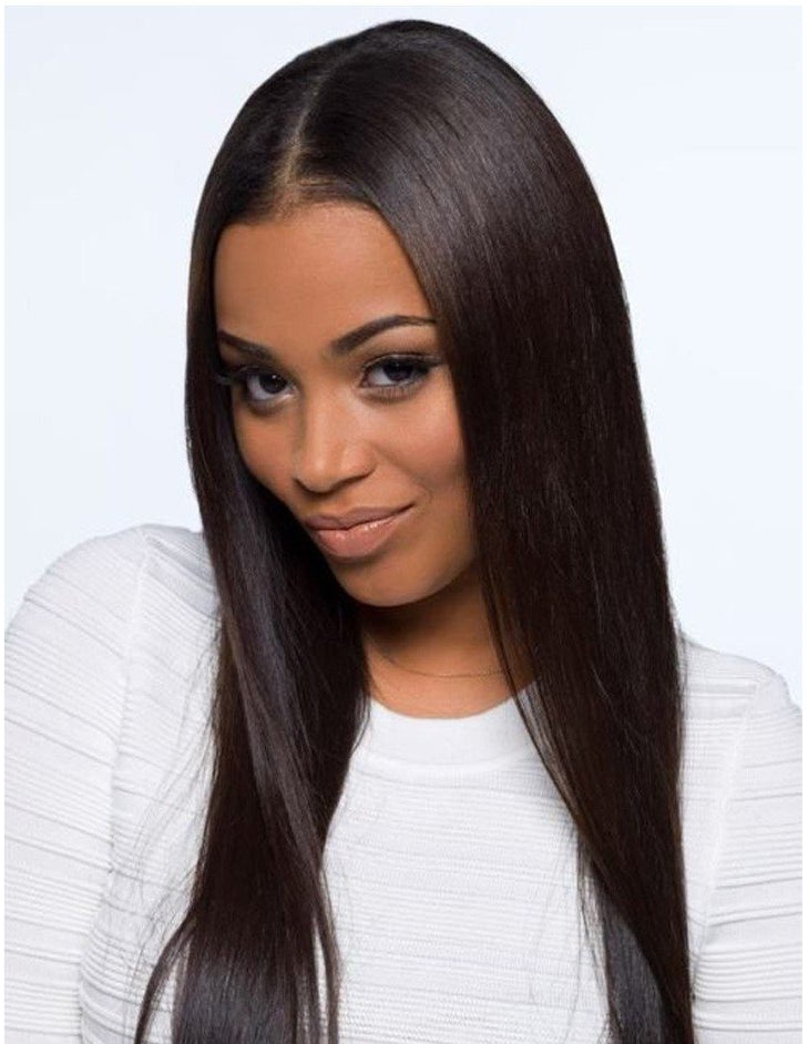 "14""-16"" straight middle parting wig human hair"
