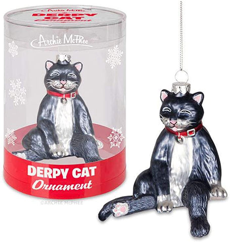 Derpy Cat Glass Ornament - Corvus: Clothing and Curiosities
