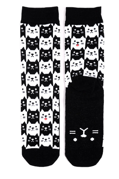 Black and White Cat Socks