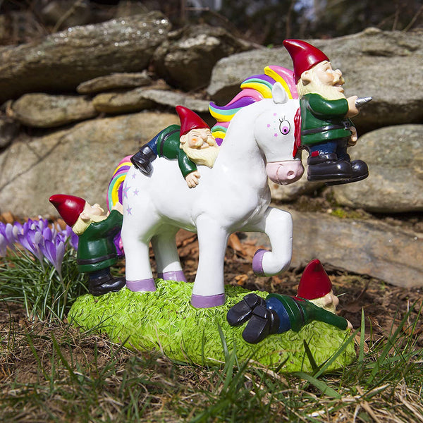 Unicorn Attack Gnome Statue