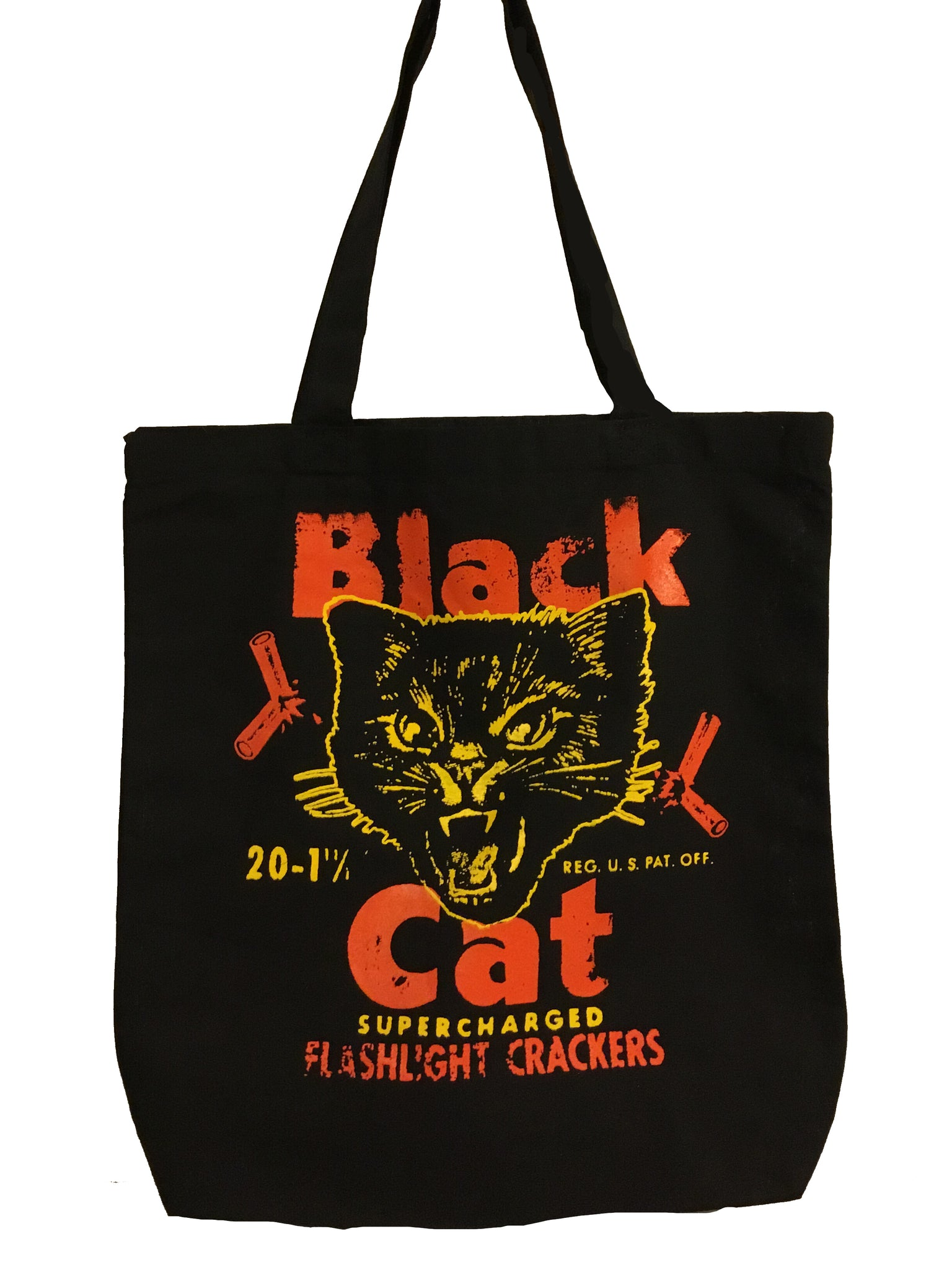 Black Cat Flashlight Crackers Tote Bag - Corvus: Clothing and Curiosities