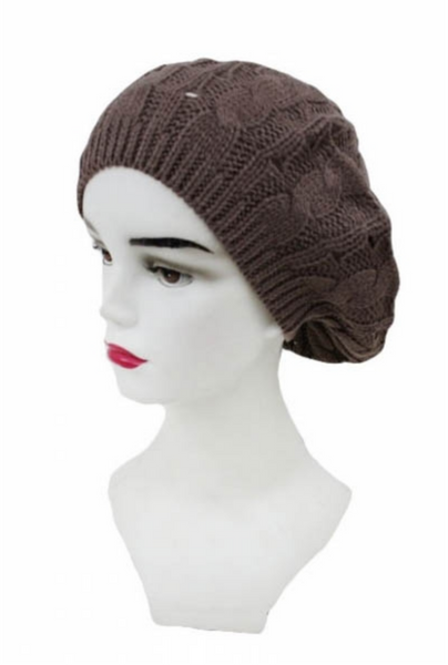 Cable Pattern Beret Beanies