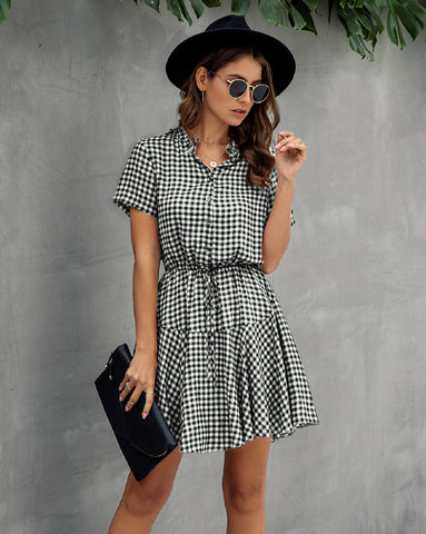 Black and White Gingham Summer Dress - Corvus: Clothing and Curiosities