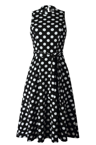 Black Sleeveless Dress with White Polka Dots - Corvus: Clothing and Curiosities