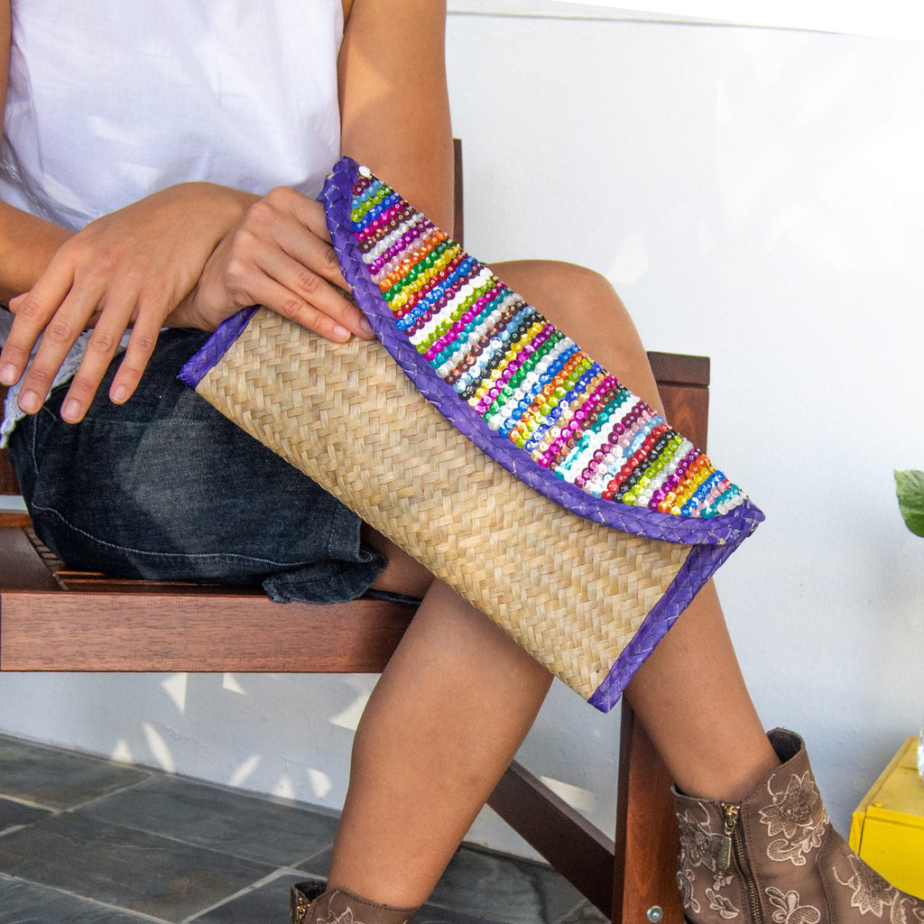 Clutch Bag with Sequin Stripes