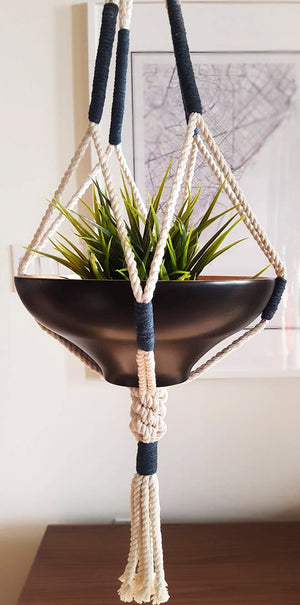 Navy Color Block Macrame Plant Hanger