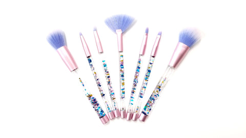 Glitter Aquarium Mermaid Makeup Brushes 7 PC Set