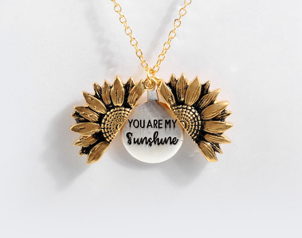 You Are My Sunshine Flower Hidden Charm Necklace