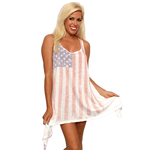 USA Flag Women's Flare Dress Faded Vintage Look Cover Up