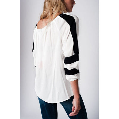 White shirt with sleeve stripe detail