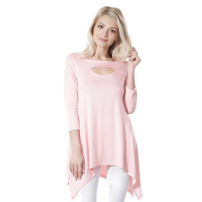Women's Sexy Peep Front Long Sleeve Blouse Made in USA