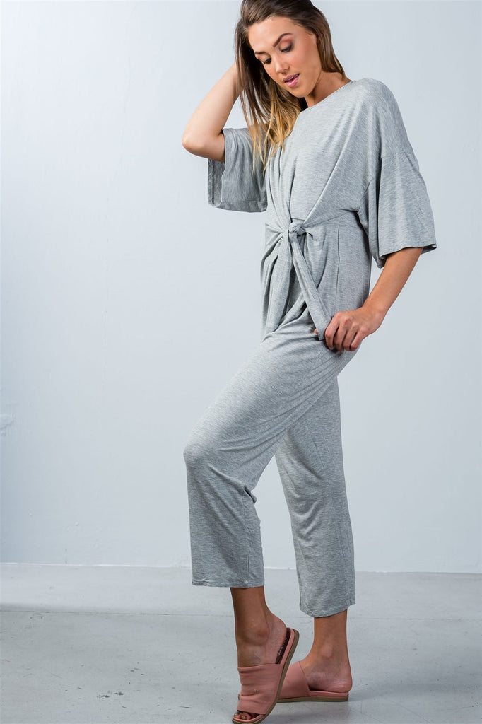 Ladies fashion knot front short sleeve casual jumpsuit