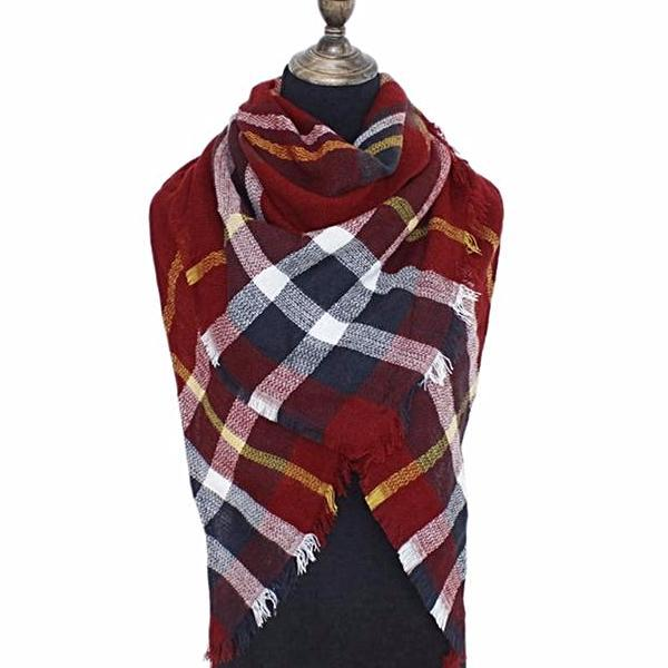 Soft Plaid Blanket Scarf In 6 Colors