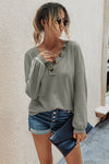 V Neck Button Front Knitted Shirts