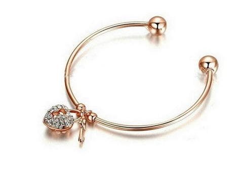 18-Karat Gold Plated Swarovski Crystal Elements Charm Bangle