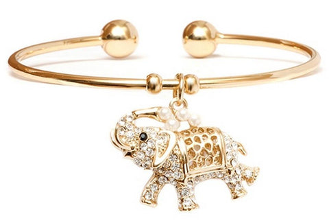 18K Gold Elephant Charm Bangle with Swarovski Elements