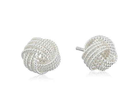 Sterling Silver Twisted Knot Stud Earrings