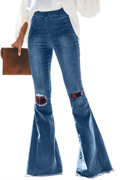 Red Plaid Patchwork Bell Bottom Jeans