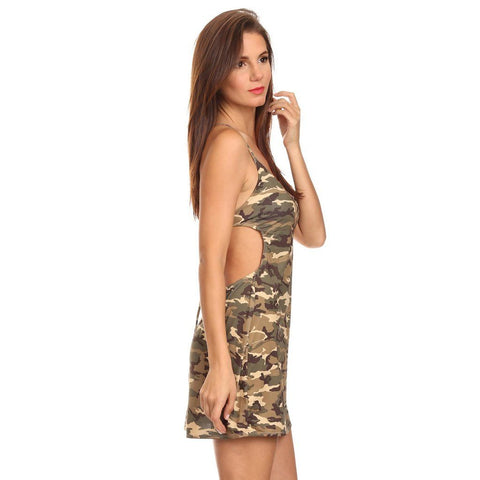 Women's Camo Cross String Beach Dress Camouflage Cover Up Made In USA