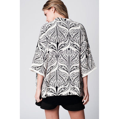 Cream leaf print kimono with fringe detail