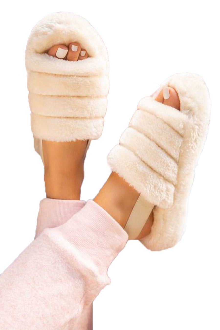 White Fur Strap Slippers
