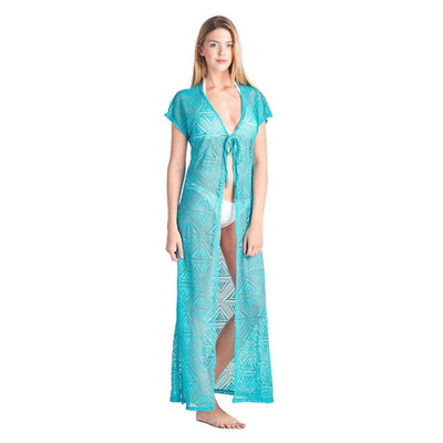 Women's Open Front Long Swimwear Cover-up Beach Dress Made in USA