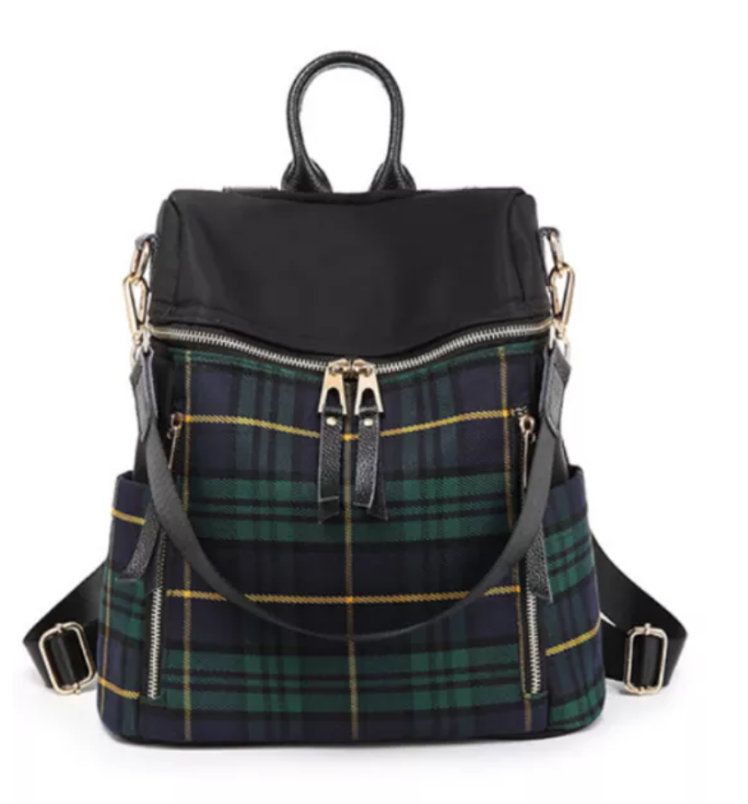 Plaid Back Pack Purse