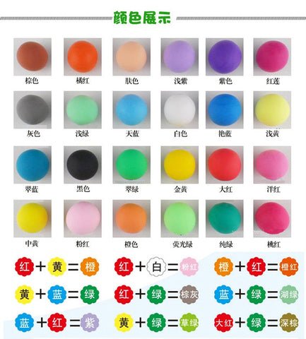 24PCS New cheap polymer super clay DIY slime charm toy safety clay modelling tools set molde intelligent plasticine kids play