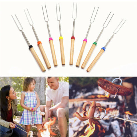 5pcs Telescopic Roasting Marshmallow Barbecue BBQ Sticks Skewers Fork Home AU
