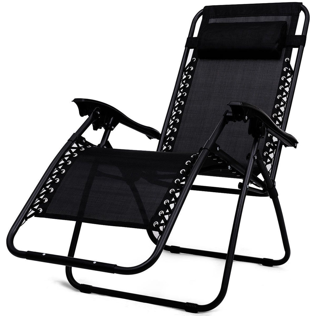Folding 3PC Zero Gravity Reclining Lounge Chairs and Table Set