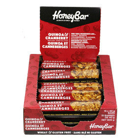 Quinoa and Cranberry Honey Bars - 15 bar box