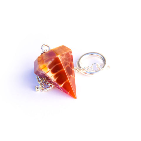 Orange Agate Fire Gem Stone Pendulum Jewellery