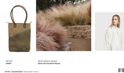 tall waxed canvas tote in earth with native desert grasses and neutral outfit