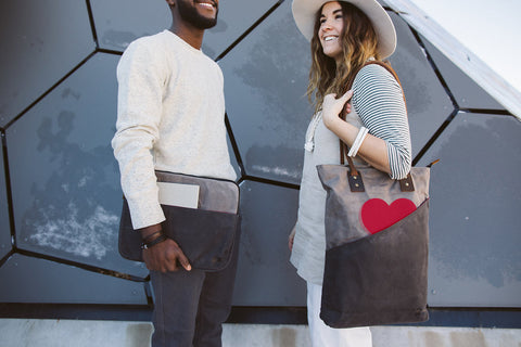 tall tote and laptop sleeve in cloud color way grey and charcoal with red heart valentine